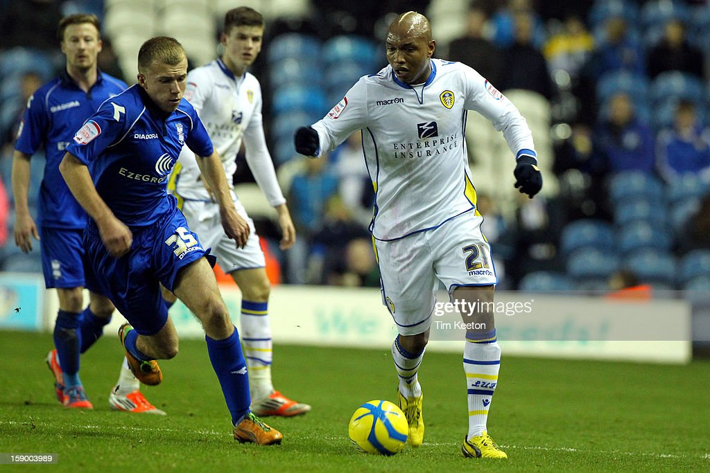 Leeds United's El-Hadji Diouf holds off Birmingham City's Reece Hales during the FA Cup with Budweiser Third Round match between Leeds United and Birmingham City at Elland Road Stadium on January 5, 2013 Leeds, England.