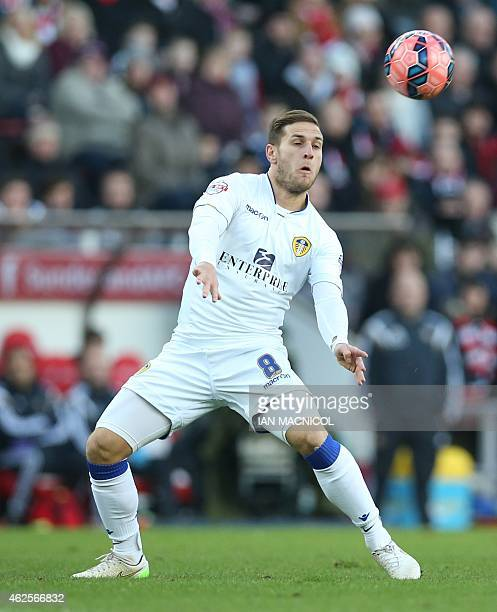 Leeds United's English striker Billy Sharp controls the ball during the English FA Cup third round football match between Sunderland and Leeds United...