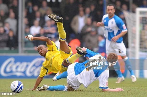 Leeds United's Fabian Delph and Bristol Rovers' Jeff Hughes battle for the ball
