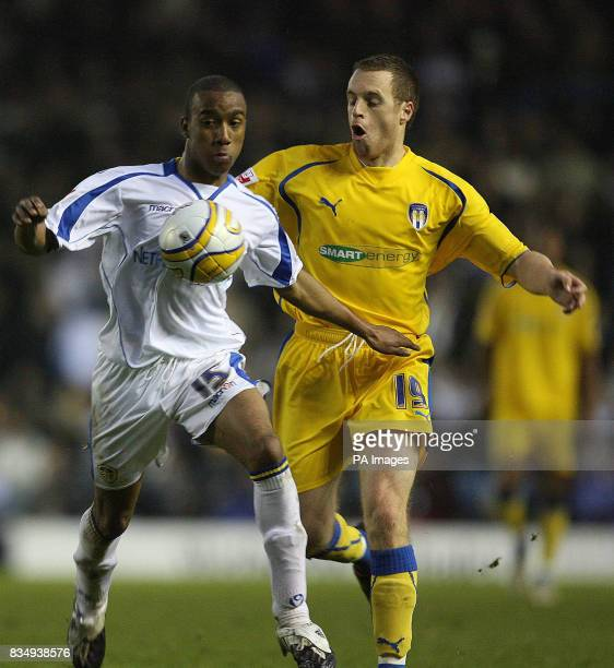Leeds United's Fabian Delph and Colchester United's Alan Maybury during the CocaCola League One match at Elland Road Leeds