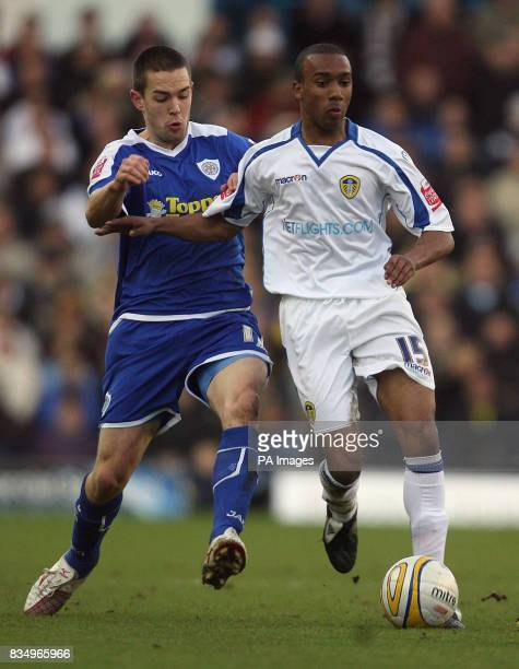 Leeds United's Fabian Delph and Leicester City's Matt Fryatt battle for the ball during the CocaCola League One match at Elland Road Leeds