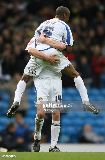 Leeds United's Fabian Delph celebrates his second goal with Leeds United's Jonathan Howson during the CocaCola League One match at Elland Road Leeds