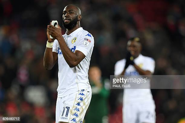 Leeds United's French midfielder Souleymane Doukara and Leeds United's French midfielder Hadi Sacko applaud the fans following the EFL Cup...