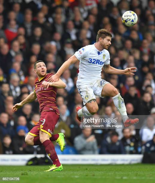 Leeds United's Gaetano Berardi beats Queens Park Rangers' Conor Washington to the ball during the Sky Bet Championship match at Elland Road Leeds