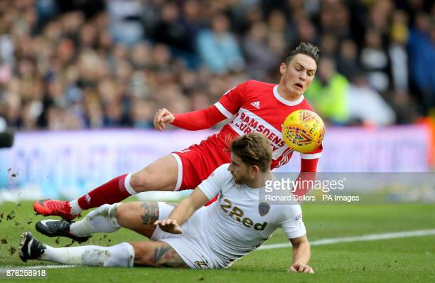 Leeds United's Gaetano Berardi fouls Middlesbrough's Connor Roberts during the Sky Bet Championship match at Elland Road Leeds