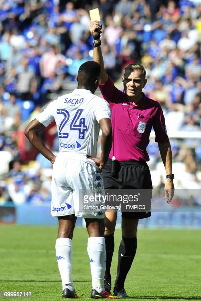 Leeds United's Hadi Sacko receives a yellow card