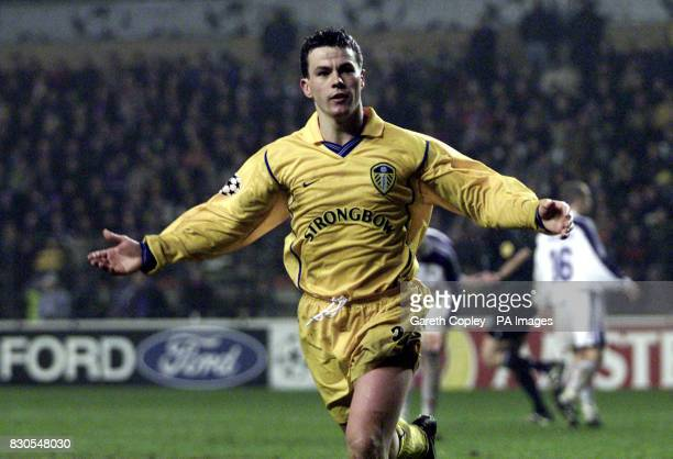 LEAGUE Leeds United's Ian Harte celebrates his goal against Anderlecht during a UEFA Champions League match at the Stade Constant Vanden Stock...