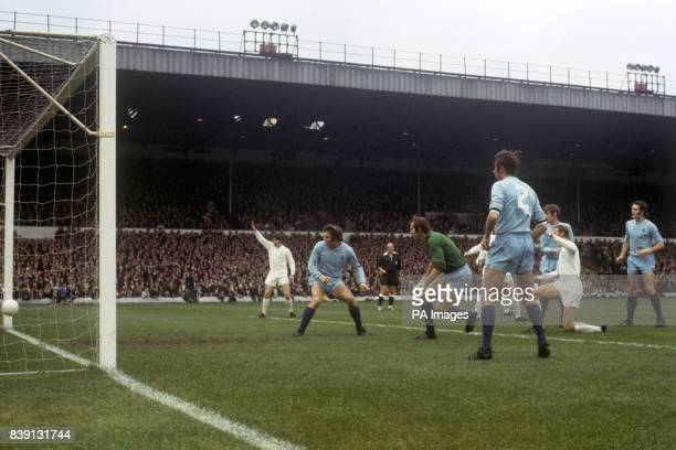 Leeds United's Jack Charlton watches as his deflected shot goes past Coventry City goalkeeper Bill Glazier and into the net for the first goal