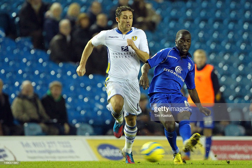 Leeds United's Jamie Ashdown and Birmingham City's Morgaro Gomis during the FA Cup with Budweiser Third Round match between Leeds United and Birmingham City at Elland Road Stadium on January 5, 2013 Leeds, England.