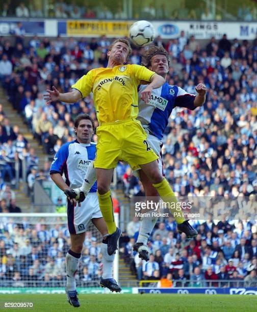 Leeds United's Jamie McMaster battles with Blackburn Rovers' Tugay during their FA Barclaycard Premiership match at Blackburn's Ewood Park ground...