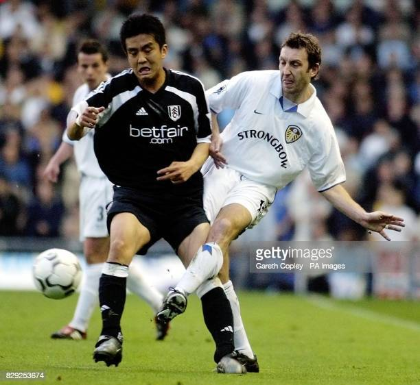 Leeds United's Jason Wilcock gets the ball past Fulham's Junichi Inamoto during their Barclaycard Premiership match at Elland Road Leeds THIS PICTURE...