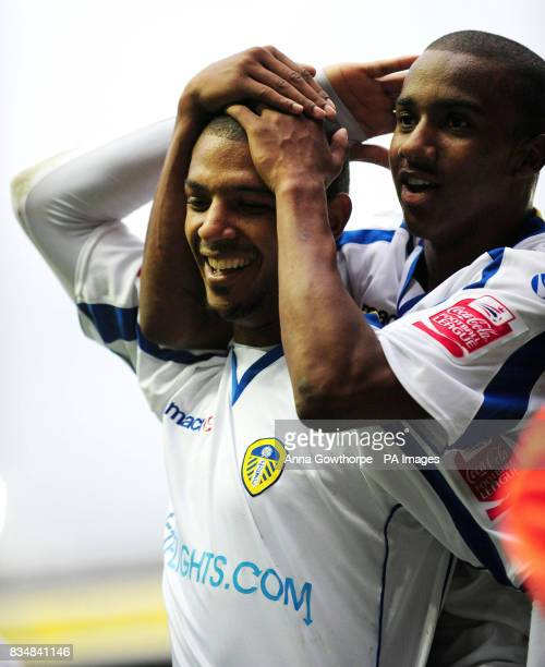 Leeds United's Jermaine Beckford celebrates his second goal with teammate Fabian Delph during the League One match at Elland Road Leeds