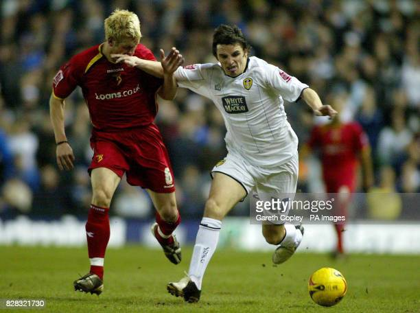 Leeds United's Jonathan Douglas hands off Watford's Jay Demerit during the CocaCola Championship match at Elland Road Leeds Tuesday February 14 2006...