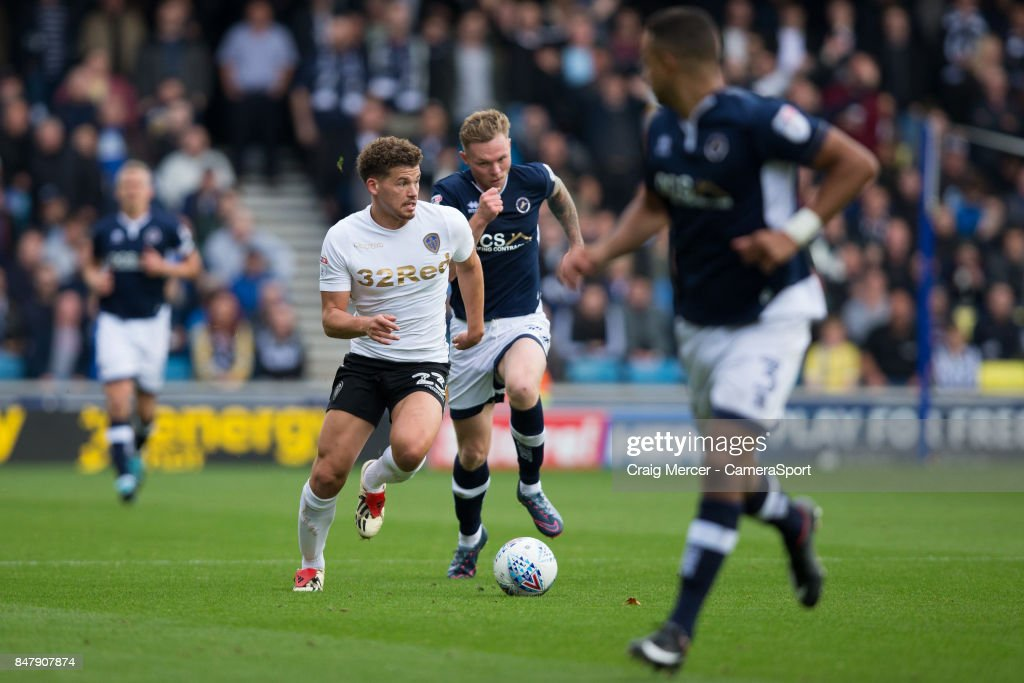 Leeds United's Kalvin Phillips in action during the Sky Bet Championship match between Millwall and Leeds United at The Den on September 16, 2017 in London, England.