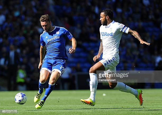 Leeds United's Kyle Bartley battles with Cardiff City's Rickie Lambert during the Sky Bet Championship match between Cardiff City and Leeds United...