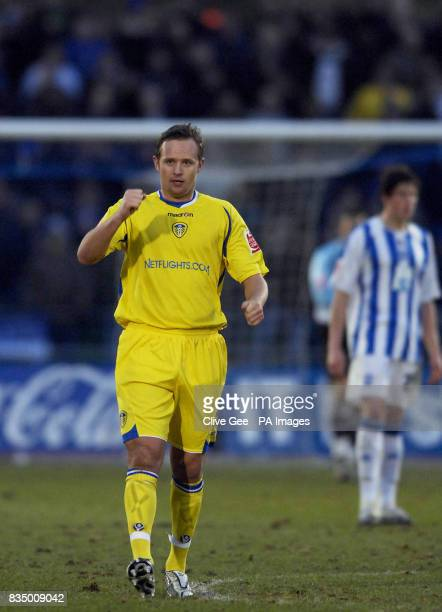 Leeds United's Lee Trundle celebrates his goal during the CocaCola Football League One match at the Withdean Stadium Brighton