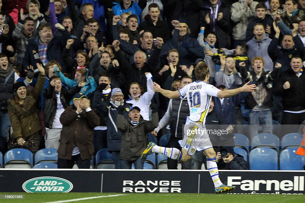 Leeds United's <a gi-track='captionPersonalityLinkClicked' href=/galleries/search?phrase=Luciano+Becchio&family=editorial&specificpeople=5489468 ng-click='$event.stopPropagation()'>Luciano Becchio</a> celebrates his equaliser during the FA Cup with Budweiser Third Round match between Leeds United and Birmingham City at Elland Road Stadium on January 5, 2013 Leeds, England.