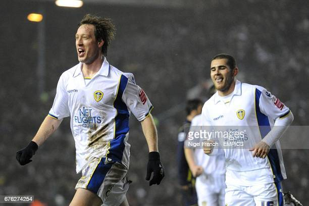 Leeds United's Luciano Becchio celebrates scoring his sides first goal of the game with teammate Bradley Johnson