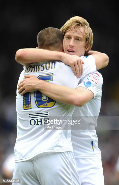 Leeds United's Luciano Becchio congratulates Leeds United's Bradley Johnson on scoring the winning goal during the npower Championship match at...