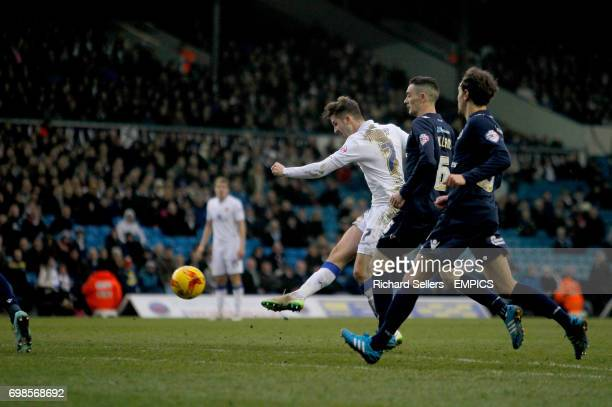 Leeds United's Luke Murphy fires a powerfull shot and forces a save