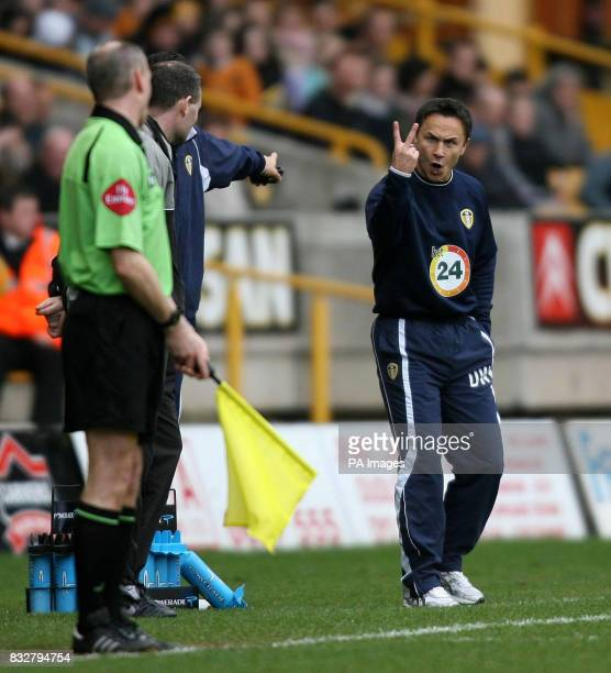Leeds United's manager Dennis Wise gets angry with the linesman during the CocaCola Championship match at the Molineux Wolverhampton
