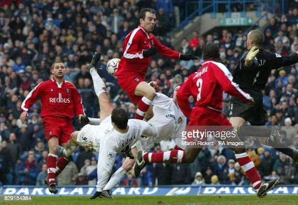 Leeds United's Mark Viduka and Robbie Keane fail to score as Charlton Athletic's Jorge Costa blocks the way during their FA Barclaycard Premiership...