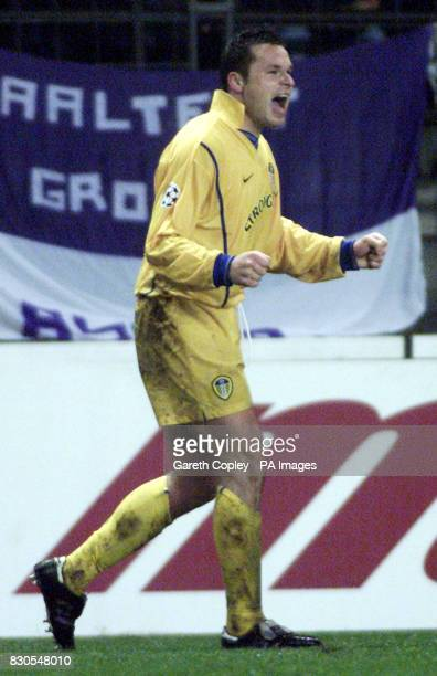 LEAGUE Leeds United's Mark Viduka celebrates his goal against Anderlecht during UEFA Champions League match at the Stade Constant Vanden Stock...