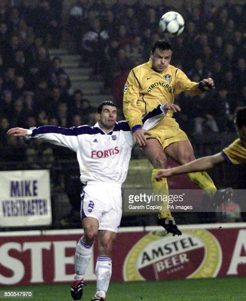 LEAGUE Leeds United's Mark Viduka jumps to score the second goal against Anderlecht during the UEFA Champions League football match at the Stade...