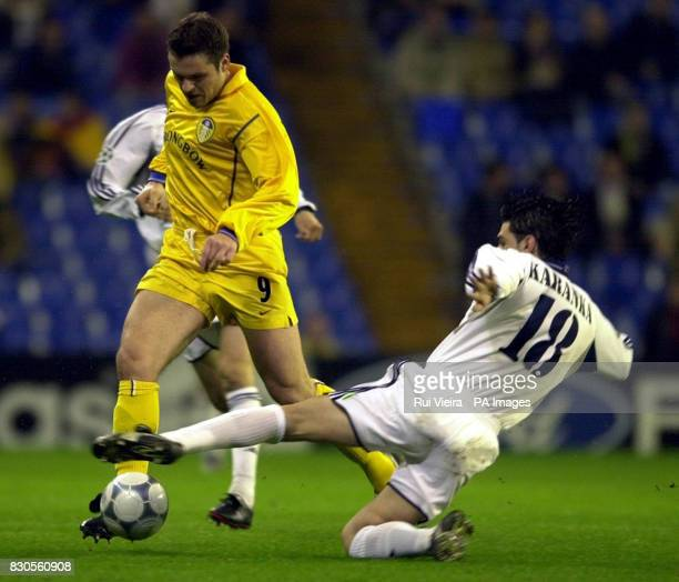 LEAGUE Leeds United's Mark Viduka takes the ball past Real Madrid's Aitor Karanka during a Champions League Group D match at the Bernabeu Stadium...