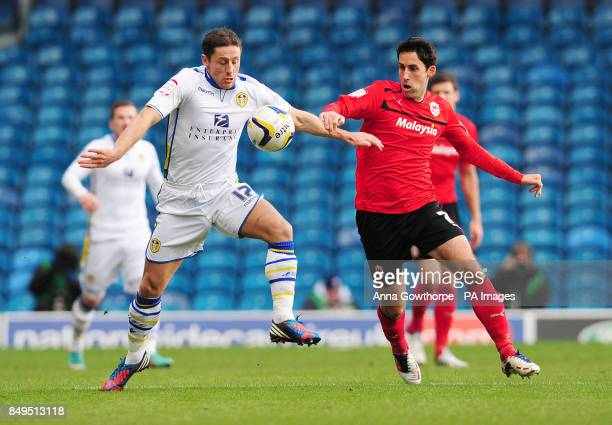 Leeds United's Michael Brown and Cardiff City's Peter Whittingham battle for the ball during the npower Football League Championship match at Elland...