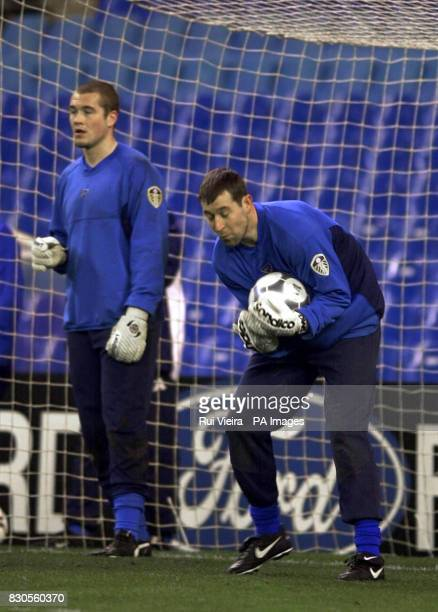 LEAGUE Leed's United's Paul Robinson and Nigel Martyn during training at the Santiago Bernabeu Stadium in Madrid ahead of their Champions League...