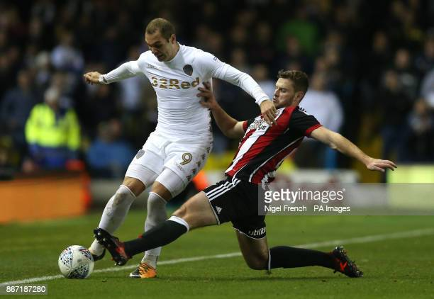 Leeds United's PierreMichel Lasogga and Sheffield United's Jack O'Connell battle for the ball during the Sky Bet Championship match at Elland Road...