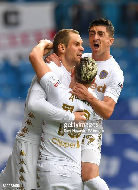 Leeds United's PierreMichel Lasogga is congratulated on scoring his team's opening goal during the Sky Bet Championship match at Elland Road Leeds