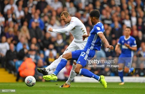 Leeds United's PierreMichel Lasogga scores his team's opening goal during the Sky Bet Championship match at Elland Road Leeds