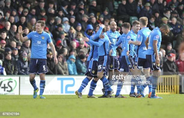 Leeds United's players celebrate their second goal of the game scored by Stephen Warnock