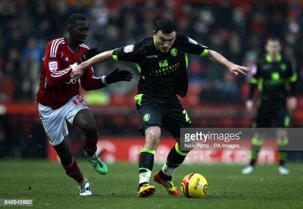 Leeds United's Robert Snodgrass holds off a challenge from Bristol City's Yannick Bolasie during the npower Football League Champinoship match at...