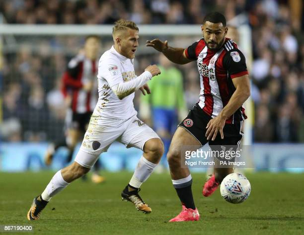 Leeds United's Samuel Saiz and Sheffield United's Cameron CarterVickers battle for the ball during the Sky Bet Championship match at Elland Road Leeds