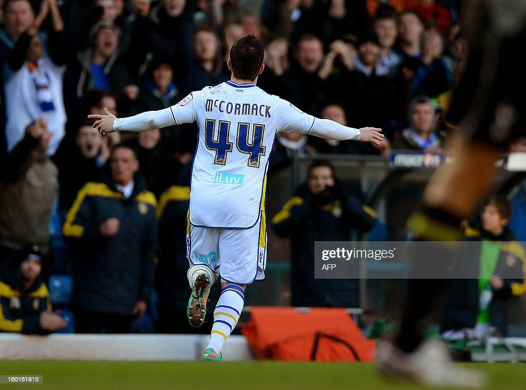 """Leeds United's Scottish forward Ross McCormack celebrates after scoring during the FA Cup football match between Leeds United and Tottenham Hotspur at Elland road stadium in Leeds, northern England on January 27, 2013. Leeds won 2-1. AFP PHOTO/ANDREW YATES. RESTRICTED TO EDITORIAL USE. No use with unauthorized audio, video, data, fixture lists, club/league logos or """"live"""" services. Online in-match use limited to 45 images, no video emulation. No use in betting, games or single club/league/player publications."""
