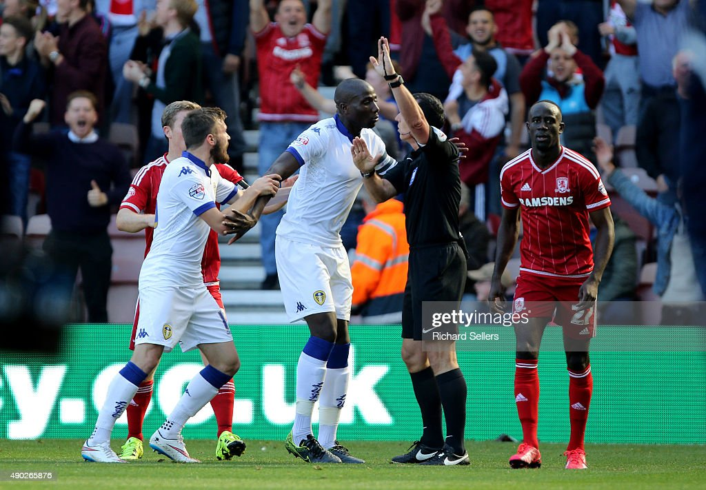 Leeds United's Sol Bamba complains to the referee Neil Swarbirck as a Leed's goal is disallowed during the Sky Bet Championship match between Middlesbrough and Leeds United at the Riverside on September 27, 2015 in Middlesbrough, England.