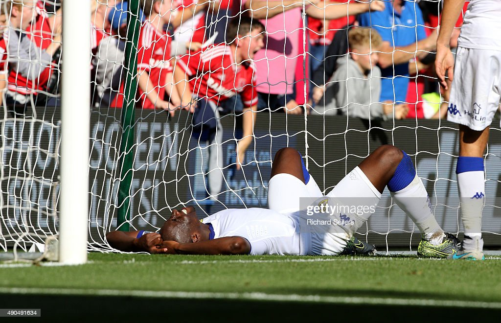 Leeds United's Sol Bamba floored during the Sky Bet Championship match between Middlesbrough and Leeds United at the Riverside on September 27 2015...