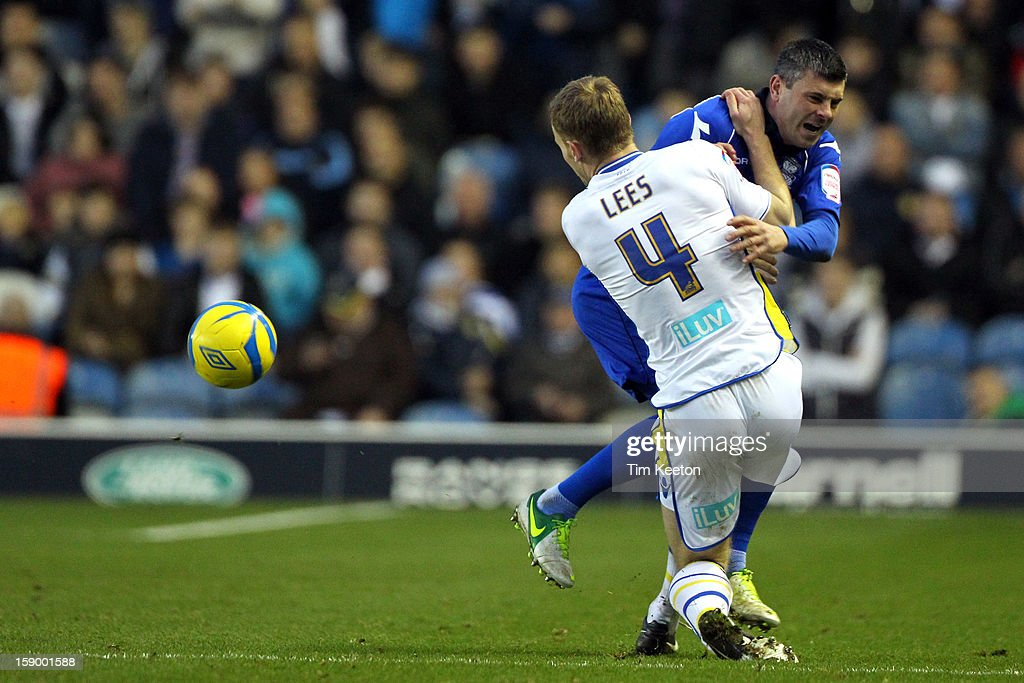 Leeds United's Tom Lees stops Birmingham City's Paul Robinson in his tracks during the FA Cup with Budweiser Third Round match between Leeds United and Birmingham City at Elland Road Stadium on January 5, 2013 Leeds, England.