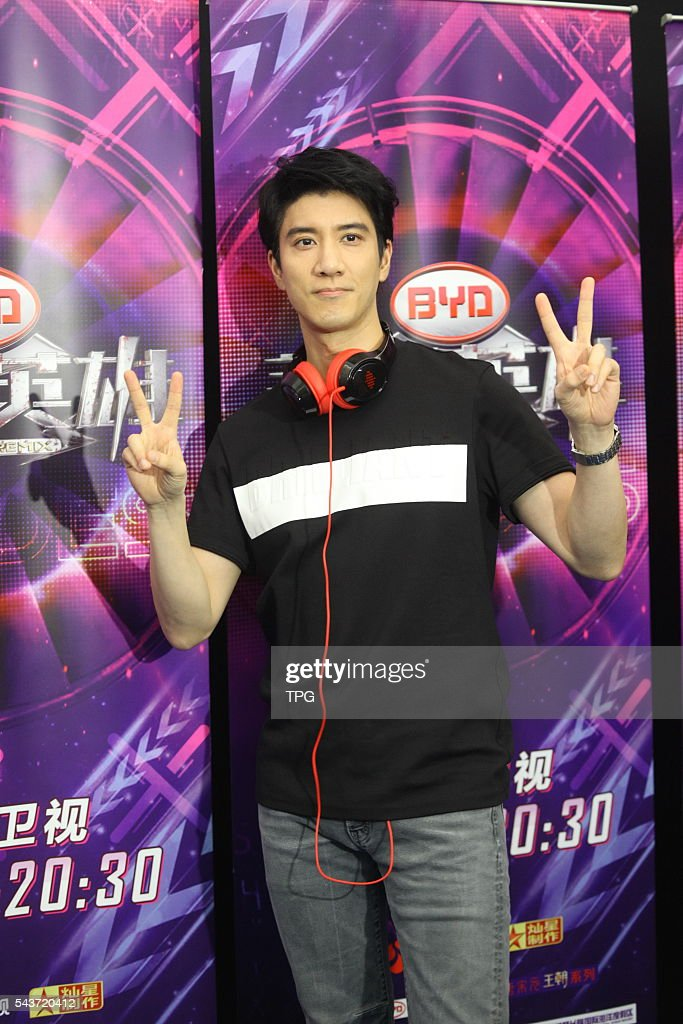 Leehom Wang and PSY attend Shanghai TV's show Heroes of Remix on 29th June, 2016 in Shanghai, China.