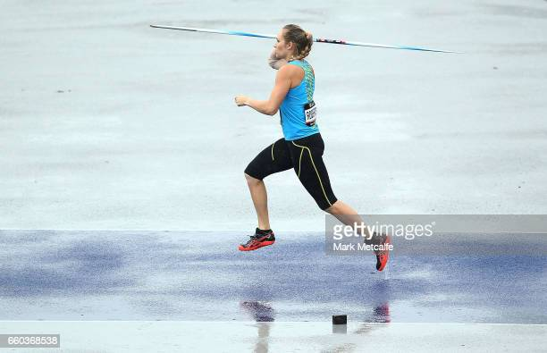 LeeKelsey Roberts of ACT competes in the womens open javelin during day five of the 2017 Australian Athletics Championships at Sydney Olympic Park...