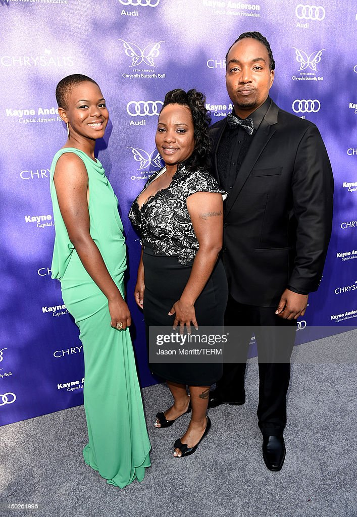 Leela Coffey, Michelle Coffey and Dohn Dillon Award Recipient Darius Coffey arrive at the 13th Annual Chrysalis Butterfly Ball in Los Angeles on June 7th, 2014.