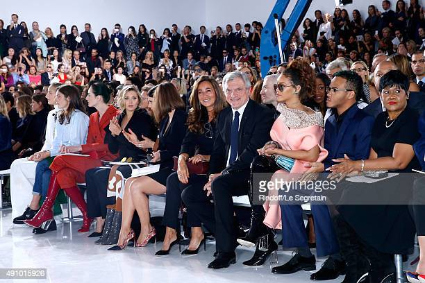 Leelee Sobieski Chiara Mastroianni Erin O'Connor Elizabeth Olsen Guest Emilia Clarke CEO Dior Sidney Toledano with his wife Katia Toledano Rihanna...