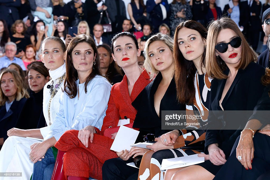 Leelee Sobieski, Chiara Mastroianni, Erin O'Connor, Elizabeth Olsen, Guest and Emilia Clarke attend the Christian Dior show as part of the Paris Fashion Week Womenswear Spring/Summer 2016. Held at Cour Carre du Louvre on October 2, 2015 in Paris, France.