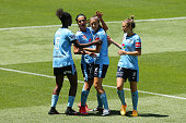 Leena Khamis of Sydney FC celebrates her goal with her teammates during the round 11 WLeague match between Melbourne Victory and Sydney FC at AAMI...