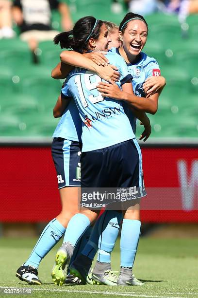 Leena Khamis Remy Siemsen and Kyah Simon of Sydney celebrate a goal during the WLeague Semi Final match between the Perth Glory and Sydney FC at nib...