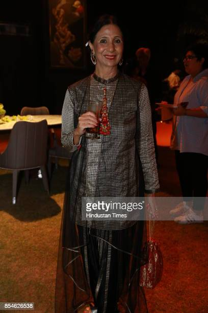 Leena Singh during an art exhibition organised by veteran artist Satish Gujral on September 22 2017 in New Delhi India At the event artist Satish...