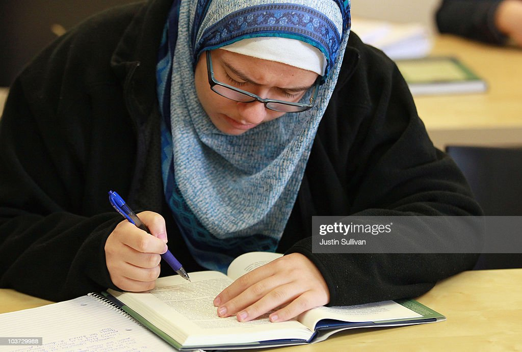 Leenah Safi reads between classes at Zaytuna College August 30, 2010 in Berkeley, California. Zaytuna College opened its doors on August 24th and hopes to become the first accredited four-year Islamic college in the United States. The school was founded by three Muslim-American scholars and offers degrees in Islamic law, theology and Arabic languages. Fifteen students are enrolled in the inaugural class and the school hopes to increase that number to 2,200 within ten years.